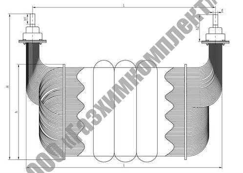 Аппараты теплообменные погружного типа, аппарат исполнения 3